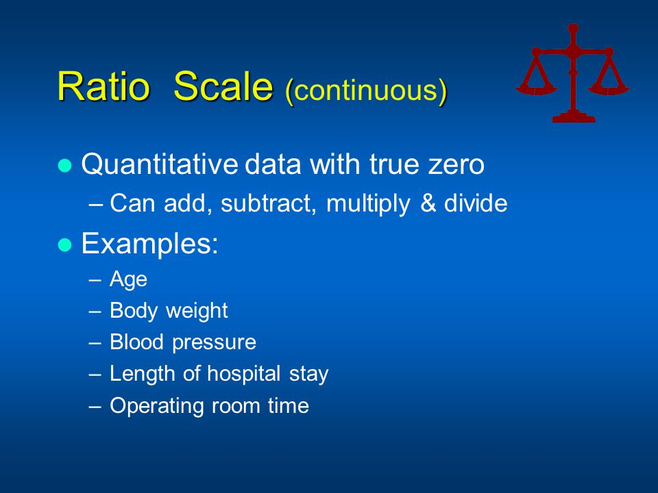 Ratio Scale (continuous)