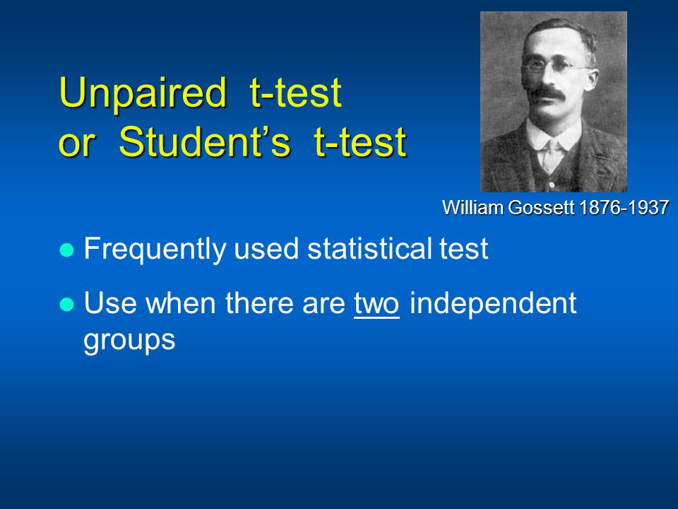 Unpaired t-test or Student's t-test
