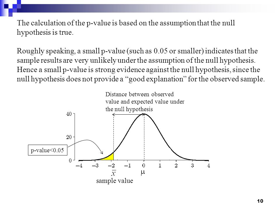 The calculation of the p-value is based on the assumption that the null hypothesis is true.