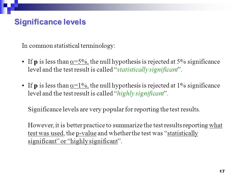 Significance levels In common statistical terminology: