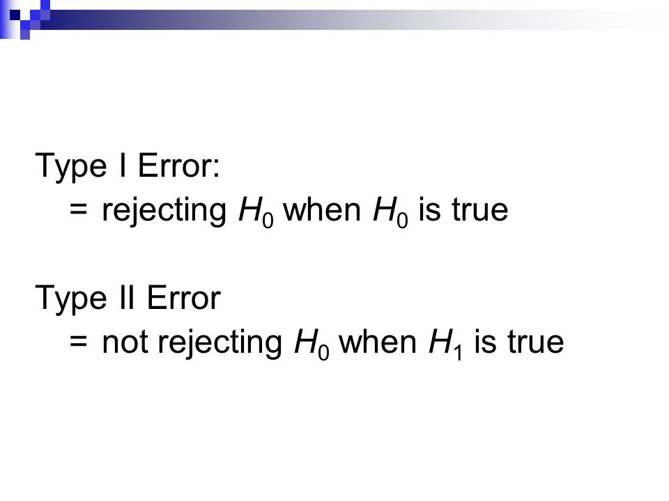 = rejecting H0 when H0 is true Type II Error