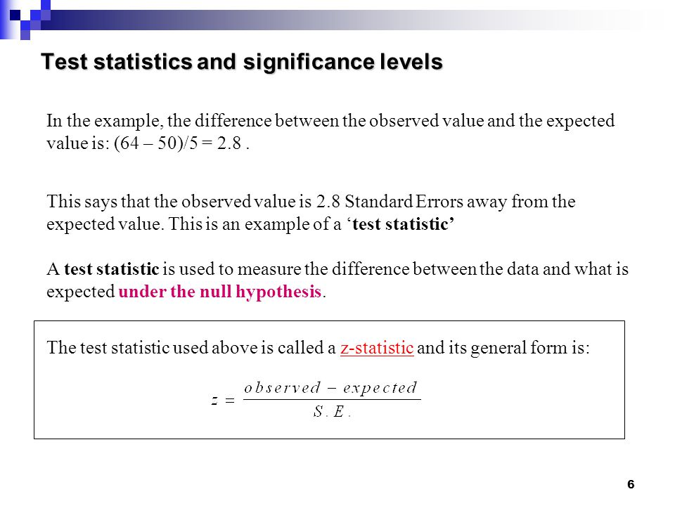 Test statistics and significance levels