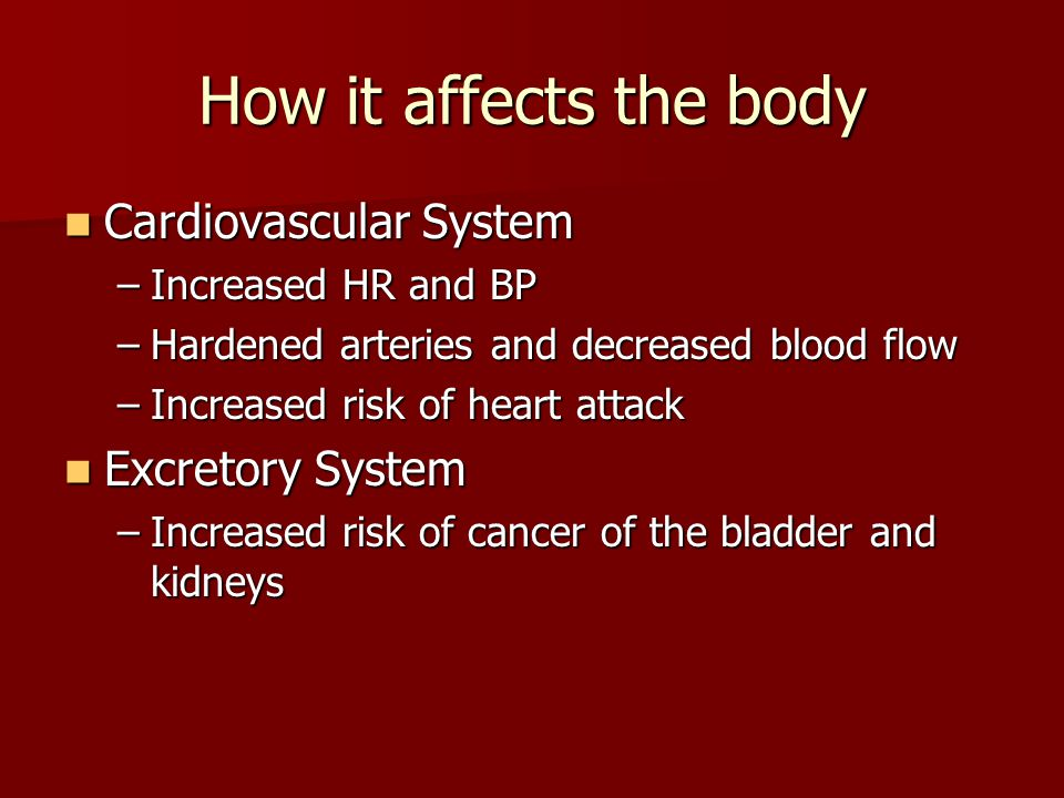 How it affects the body Cardiovascular System Excretory System