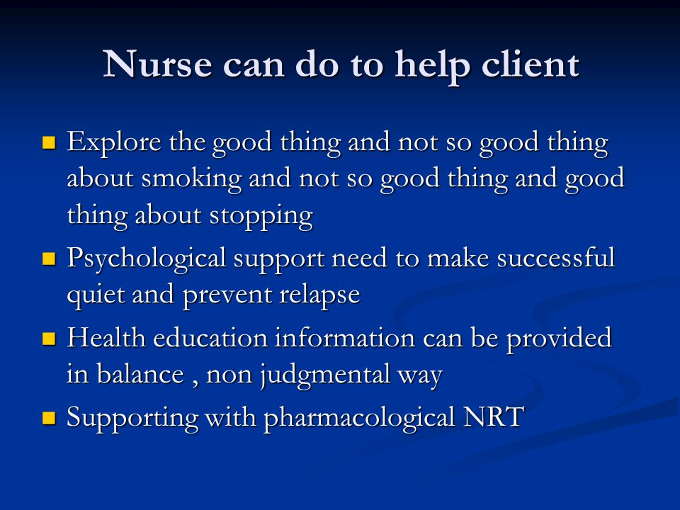 Nurse can do to help client