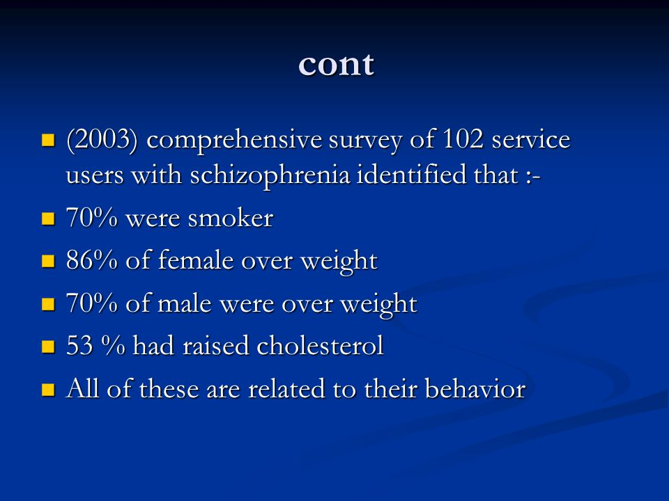 cont (2003) comprehensive survey of 102 service users with schizophrenia identified that :- 70% were smoker.
