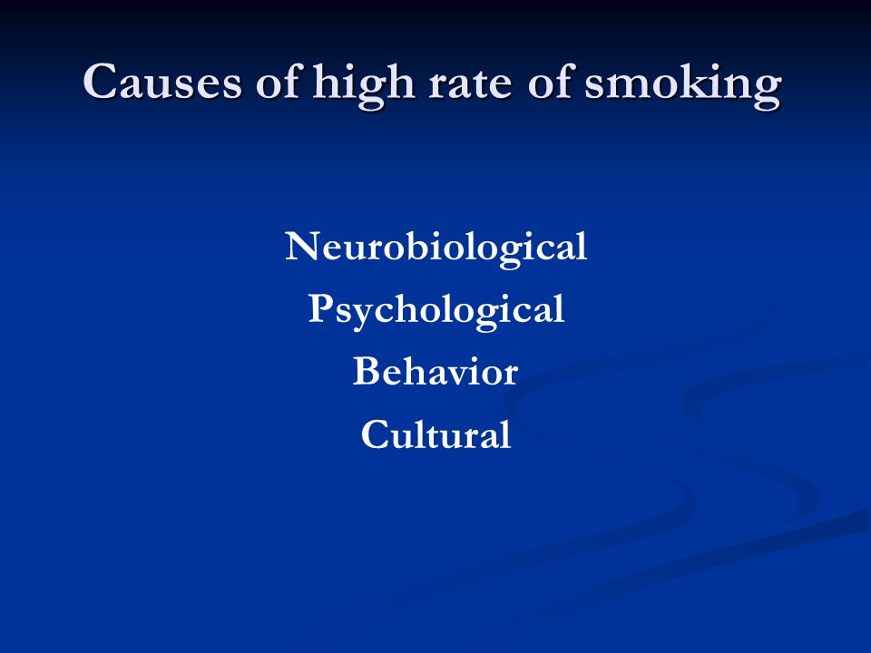 Causes of high rate of smoking