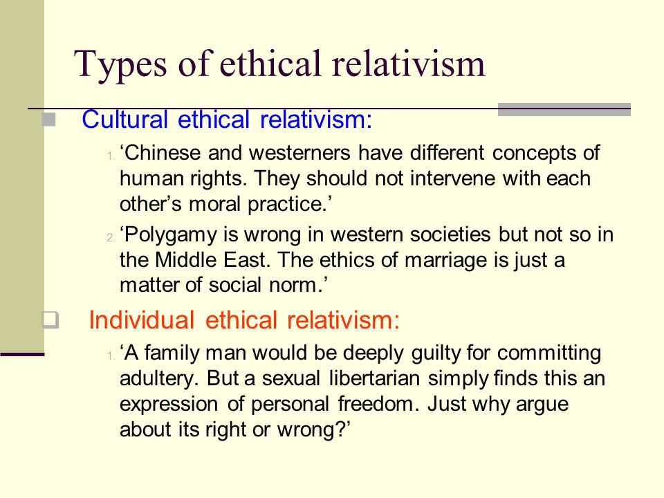 Types of ethical relativism