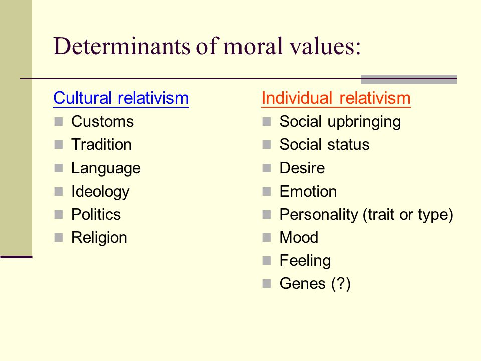 Determinants of moral values: