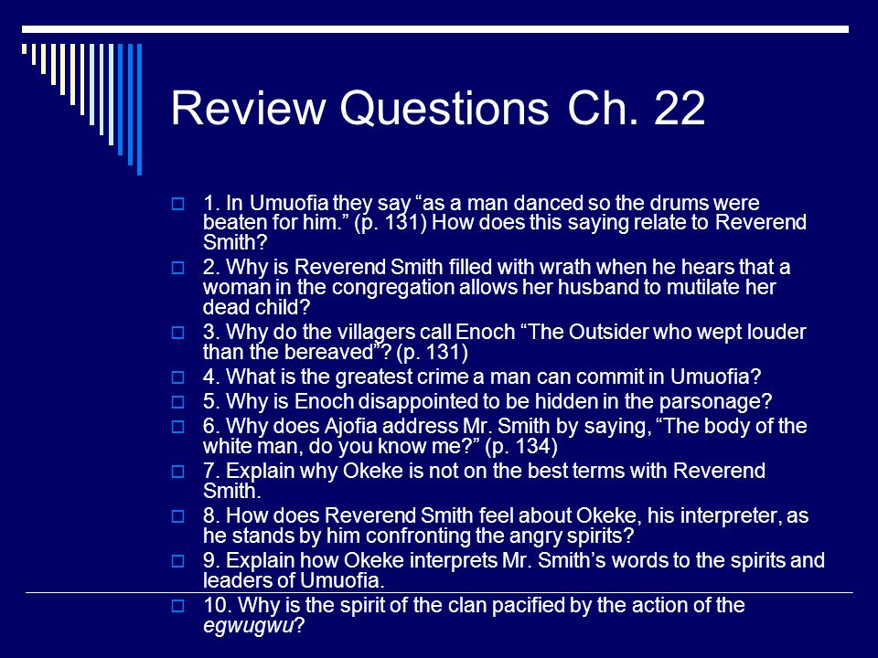 Review Questions Ch. 22