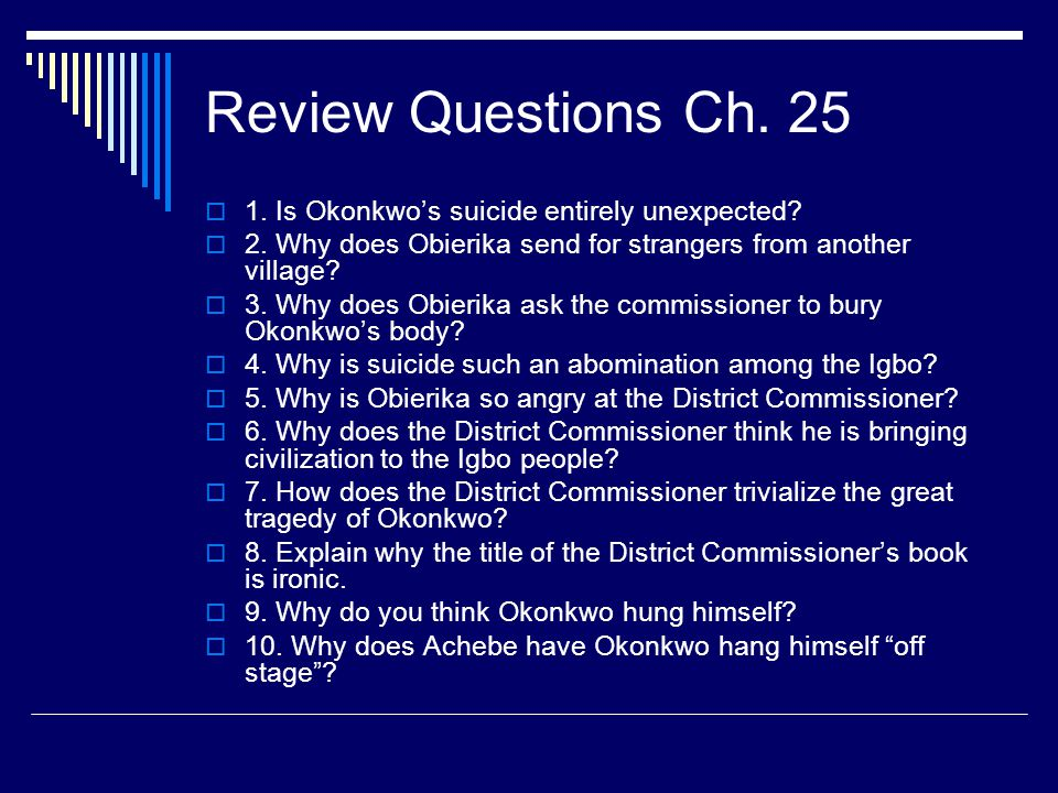 Review Questions Ch Is Okonkwo's suicide entirely unexpected