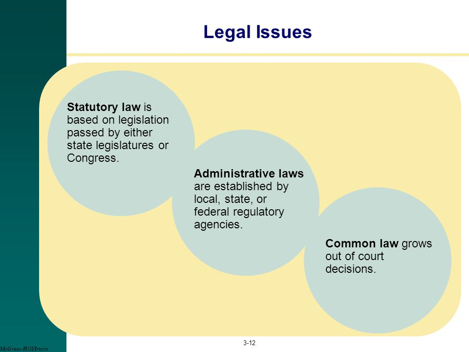 Legal Issues Statutory law is based on legislation passed by either state legislatures or Congress.