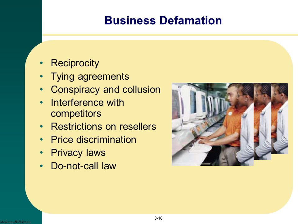 Business Defamation Reciprocity Tying agreements