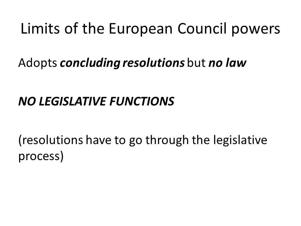 Limits of the European Council powers