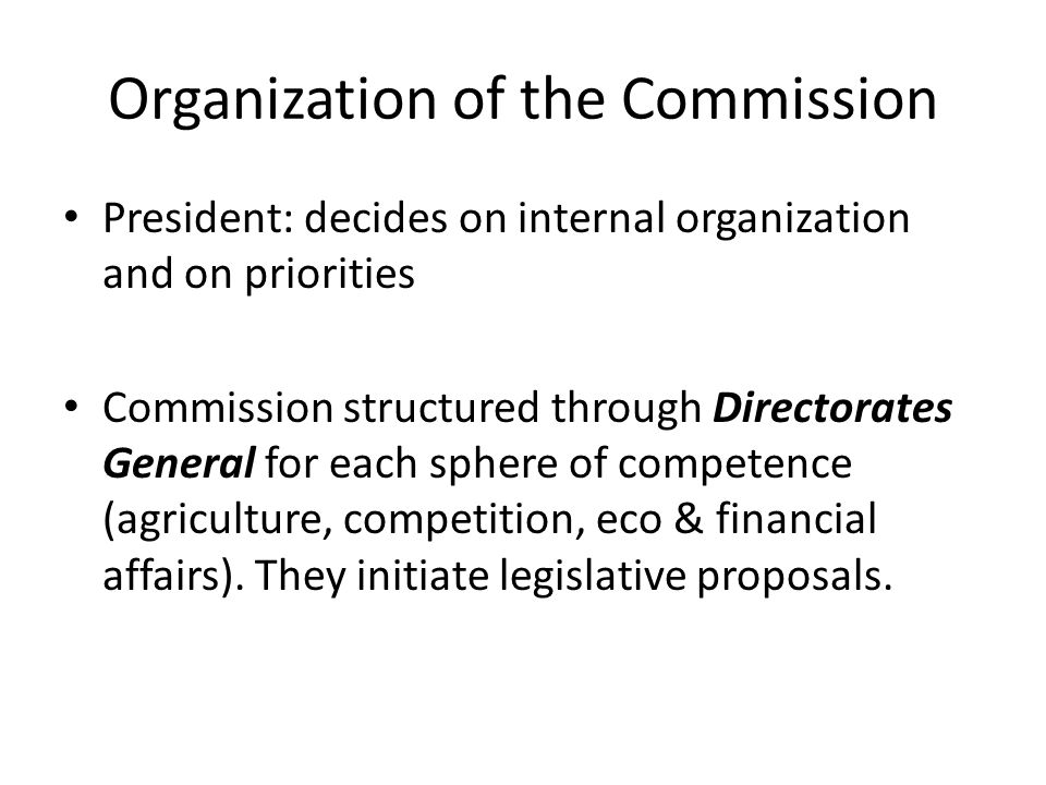 Organization of the Commission