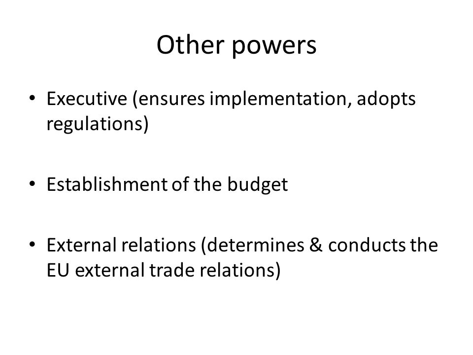 Other powers Executive (ensures implementation, adopts regulations)
