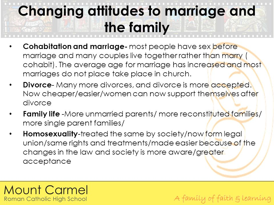 Changing attitudes to marriage and the family