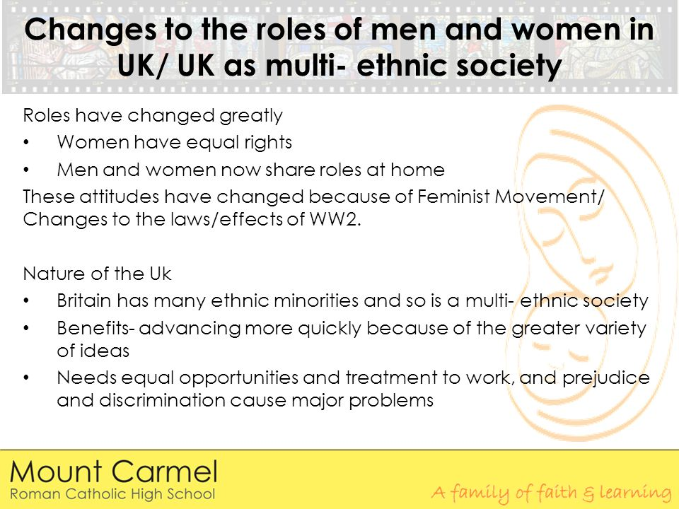 Changes to the roles of men and women in UK/ UK as multi- ethnic society