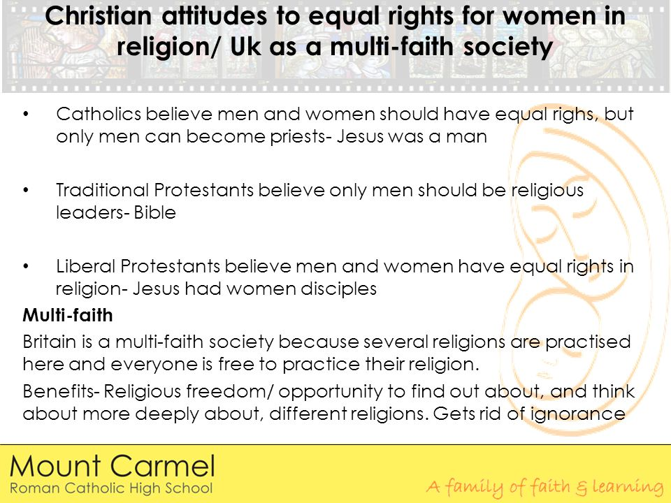 Christian attitudes to equal rights for women in religion/ Uk as a multi-faith society