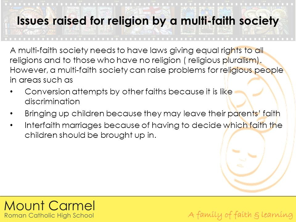 Issues raised for religion by a multi-faith society