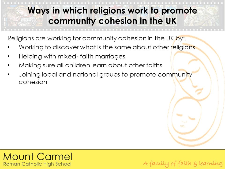 Ways in which religions work to promote community cohesion in the UK