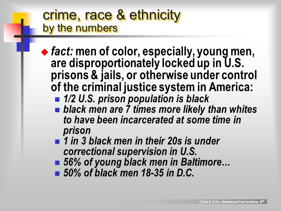 racial disparity and correctional population essay The biggest crime in the us criminal justice system is that it is a race-based   half of the population, 80% of the nypd stops were of blacks and latinos   higher than the rate for whites - according to a may 2009 report on disparity in   first-person essays, features, interviews and q&as about life today.