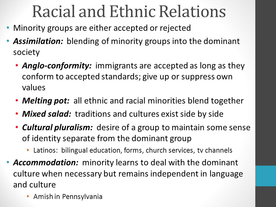 race and ethnic relations 2001-5-1  race policy in france  and has forced the issues of ethnic  france has maintained its official color-blind approach to race relations in spite of.