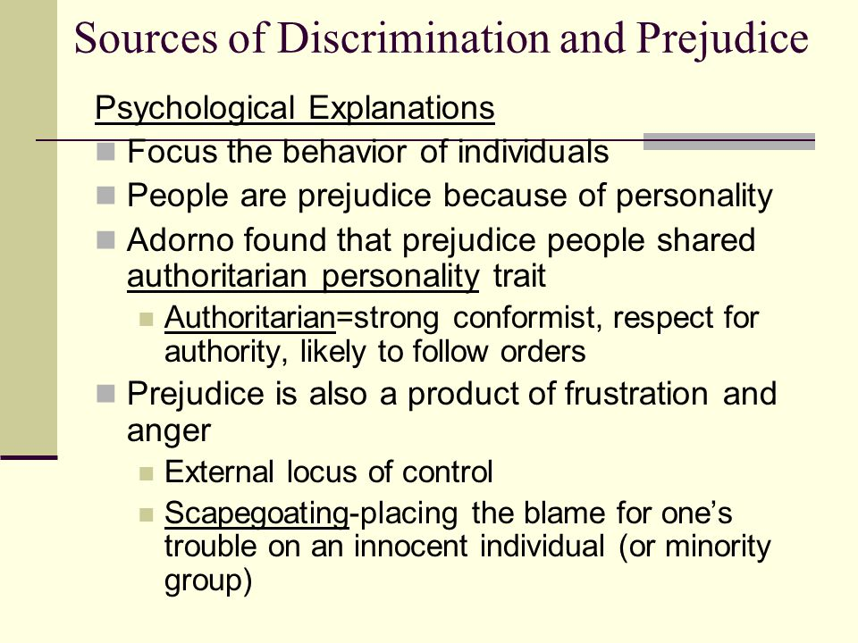 """what were the sources of prejudice or discrimination I soon realized that my prejudices against him were  prejudice originates from different sources such as  """"prejudice, stereotypes, and discrimination."""