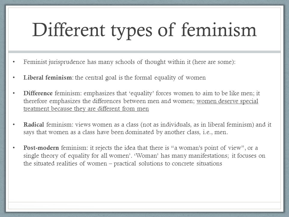 Feminism compare and contrast who is