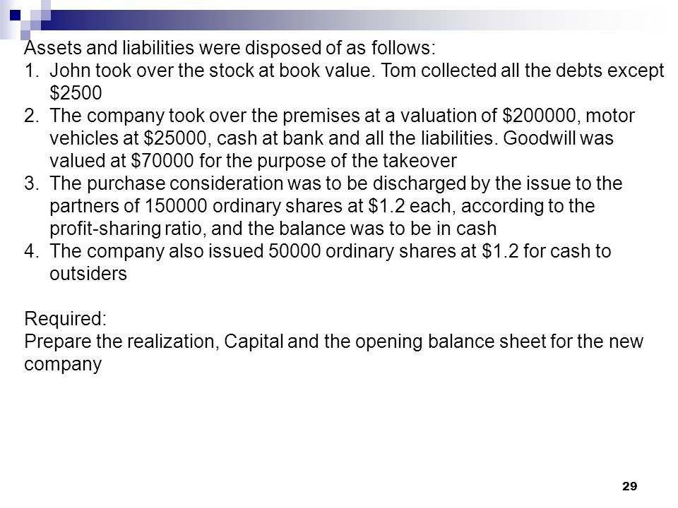 Assets and liabilities were disposed of as follows: