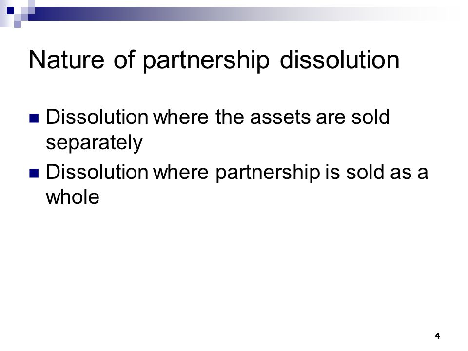 Nature of partnership dissolution