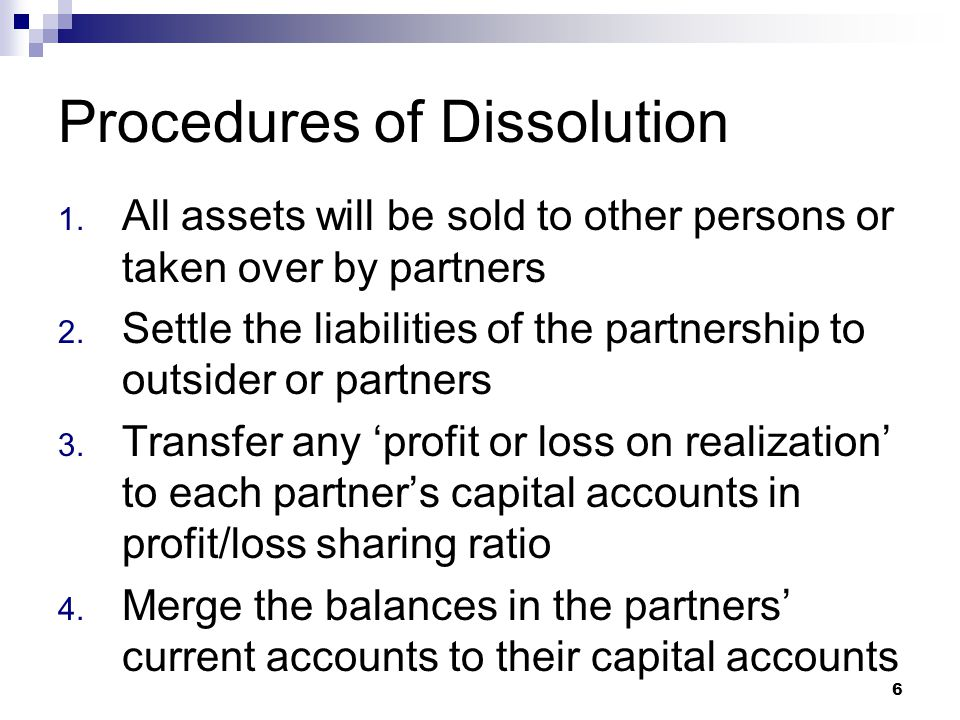 Procedures of Dissolution