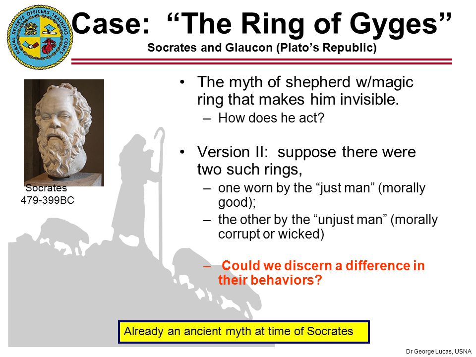 an argument between glaucon and socrates on the story of gyges Forms that shattered the previous world and its culturell the story of gyges, however hypothetical or mythical, is a great explanation of  socrates, p 1081) 10 .