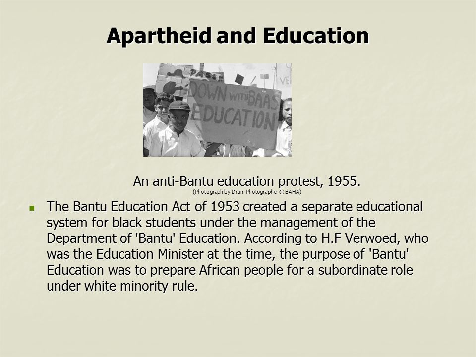 bantu education The act was to provide for the transfer of the adminiustration and control of native education from the several provincial administrations to the government of the union of south africa, and for ma.