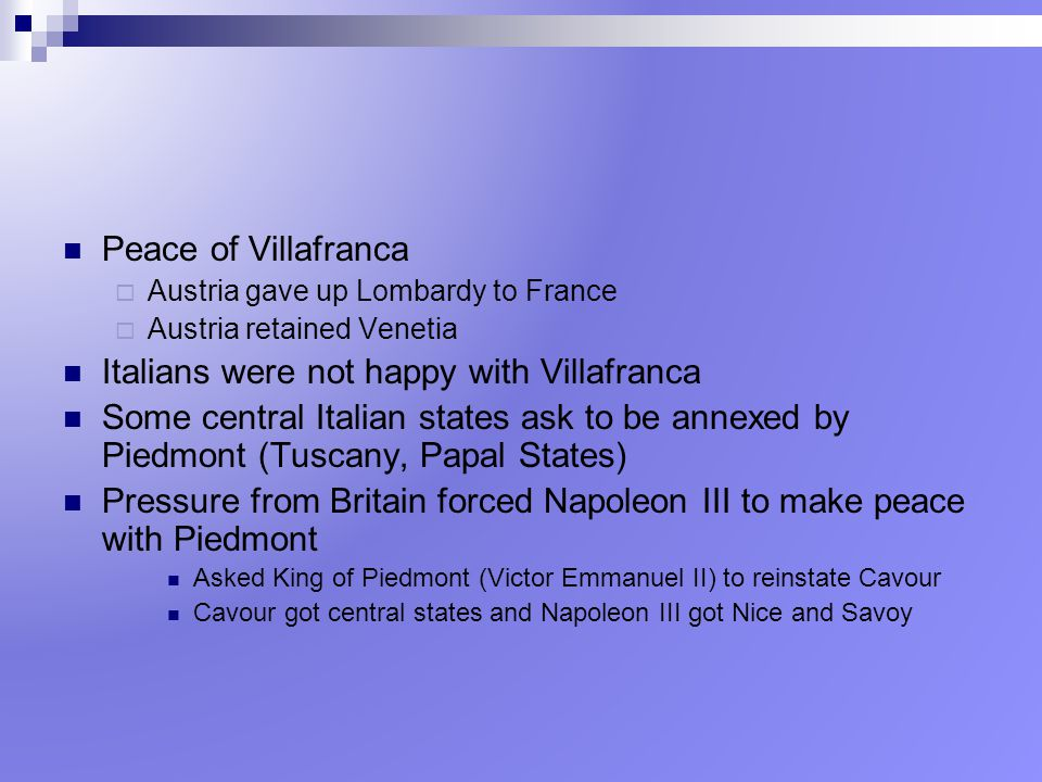 Italians were not happy with Villafranca