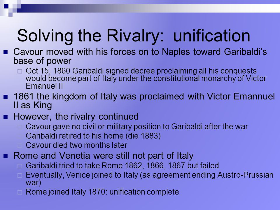 Solving the Rivalry: unification
