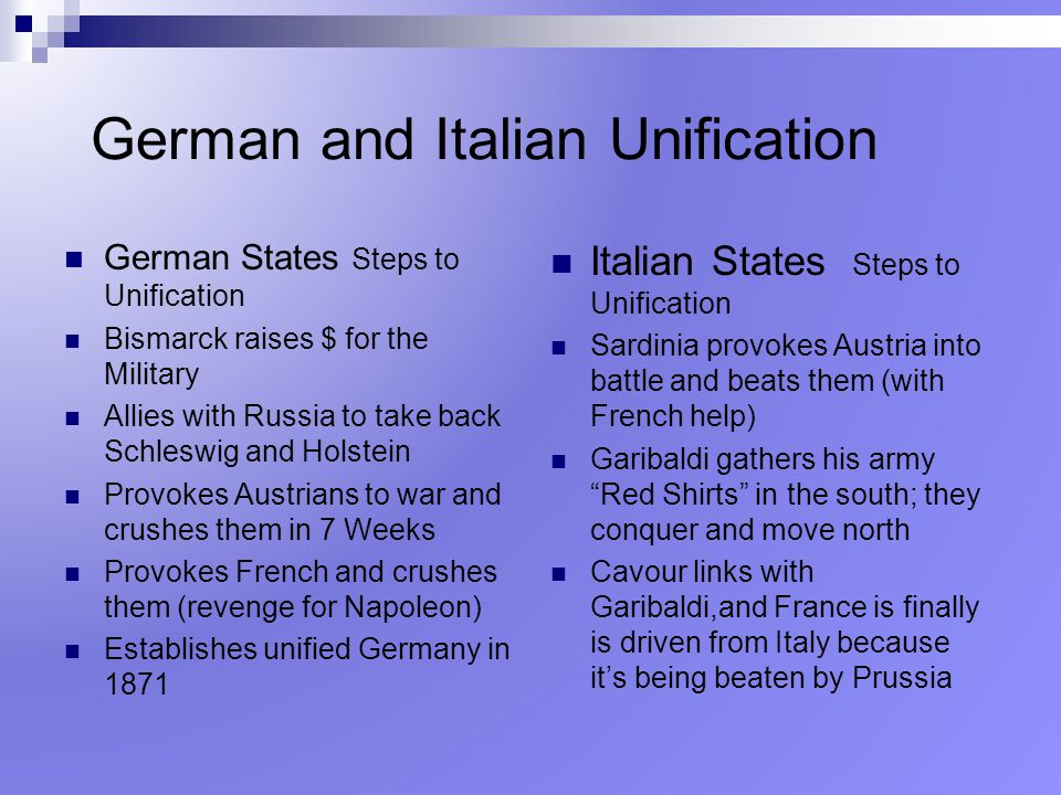 German and Italian Unification