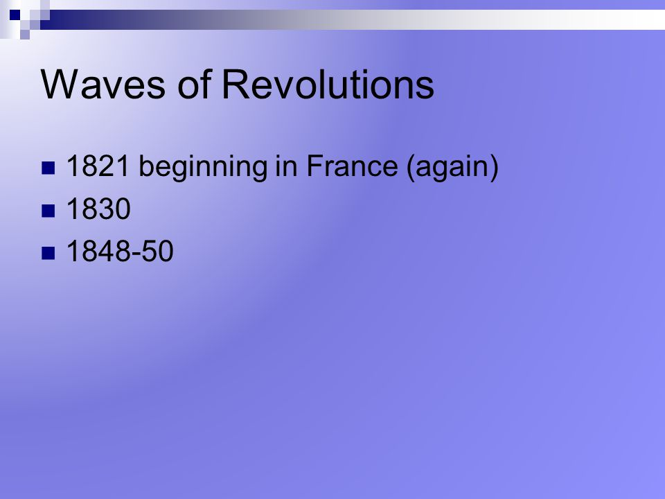 Waves of Revolutions 1821 beginning in France (again) 1830 1848-50