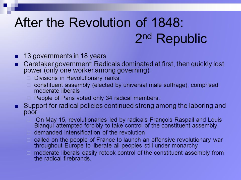 After the Revolution of 1848: 2nd Republic