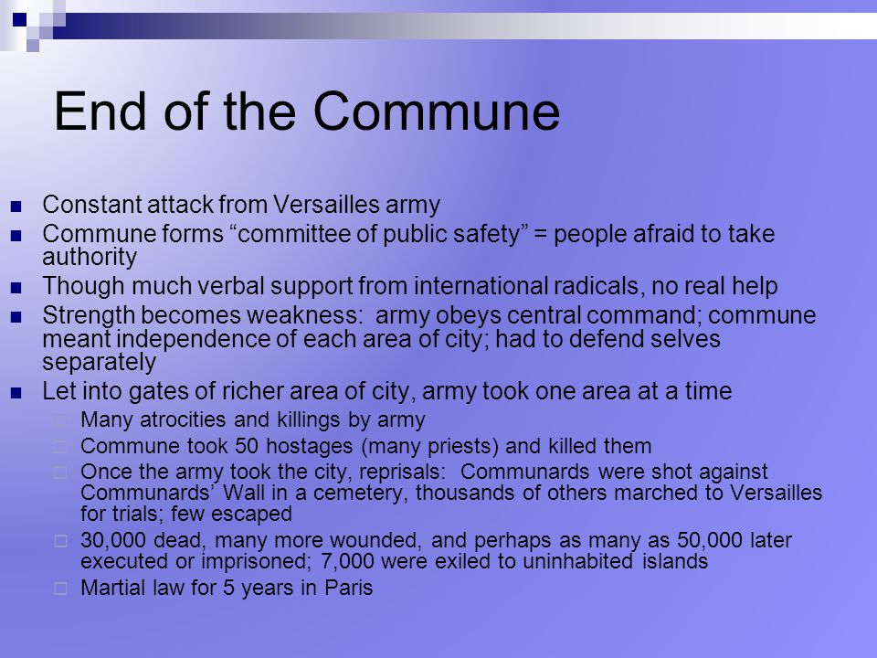 End of the Commune Constant attack from Versailles army