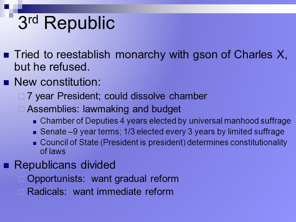 3rd Republic Tried to reestablish monarchy with gson of Charles X, but he refused. New constitution:
