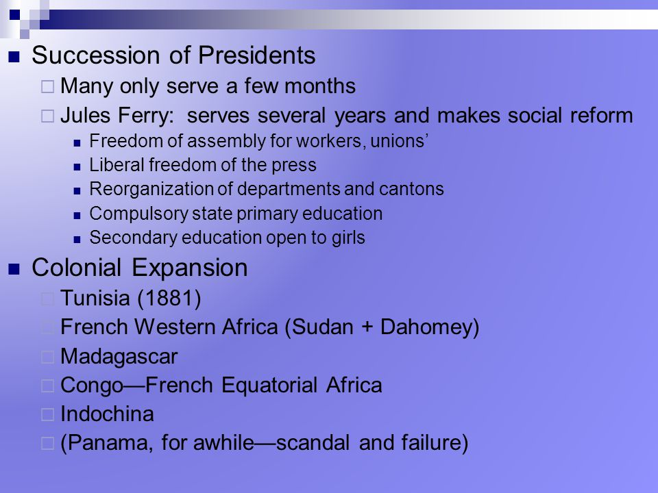 Succession of Presidents