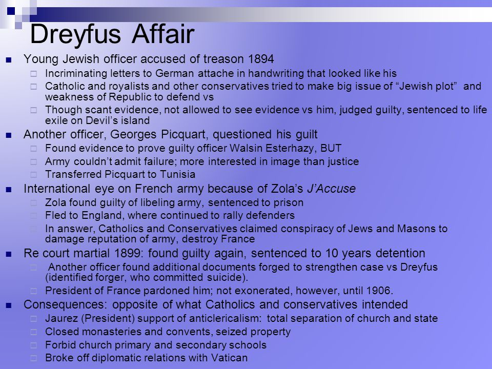 Dreyfus Affair Young Jewish officer accused of treason 1894