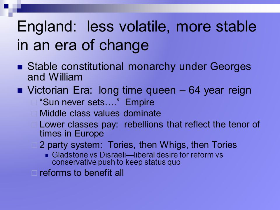 England: less volatile, more stable in an era of change