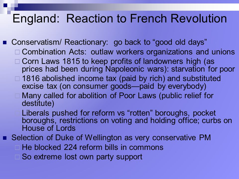 England: Reaction to French Revolution