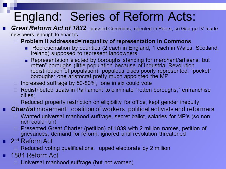 England: Series of Reform Acts: