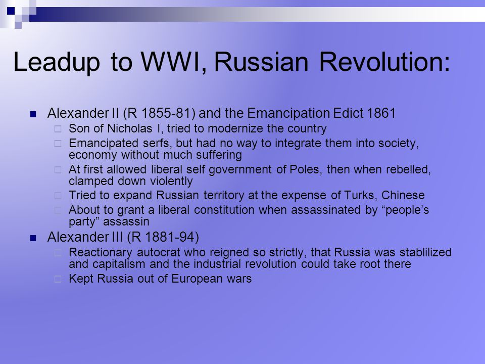 Leadup to WWI, Russian Revolution: