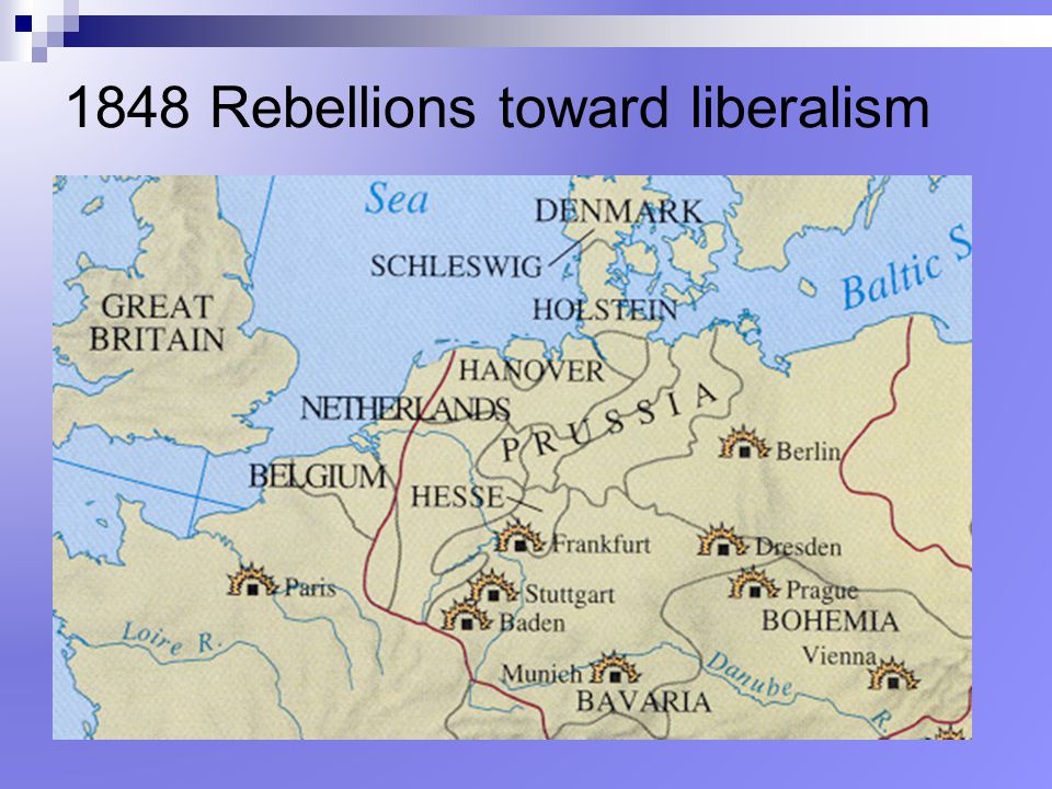 1848 Rebellions toward liberalism