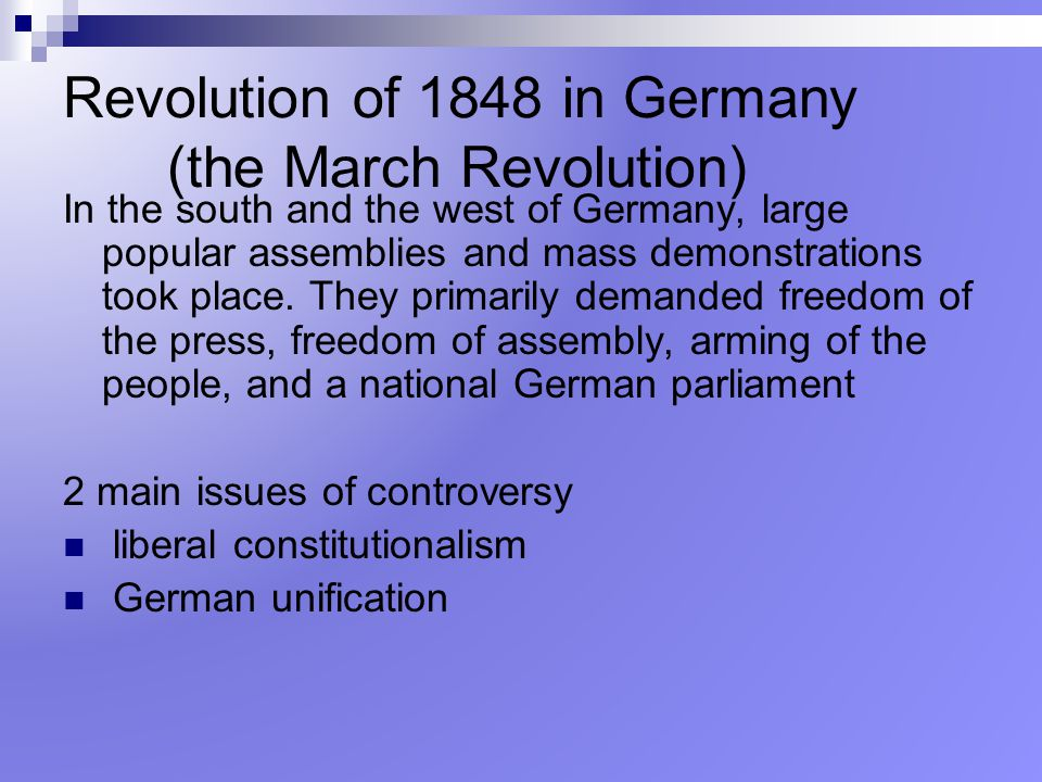 Revolution of 1848 in Germany (the March Revolution)