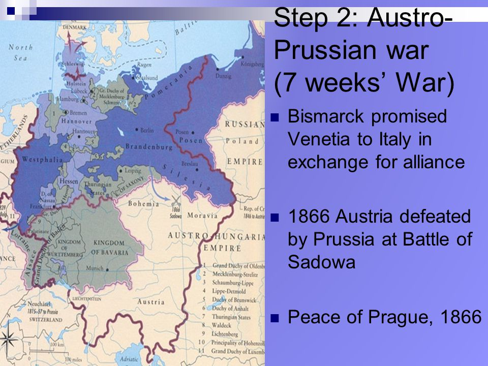 Step 2: Austro-Prussian war (7 weeks' War)