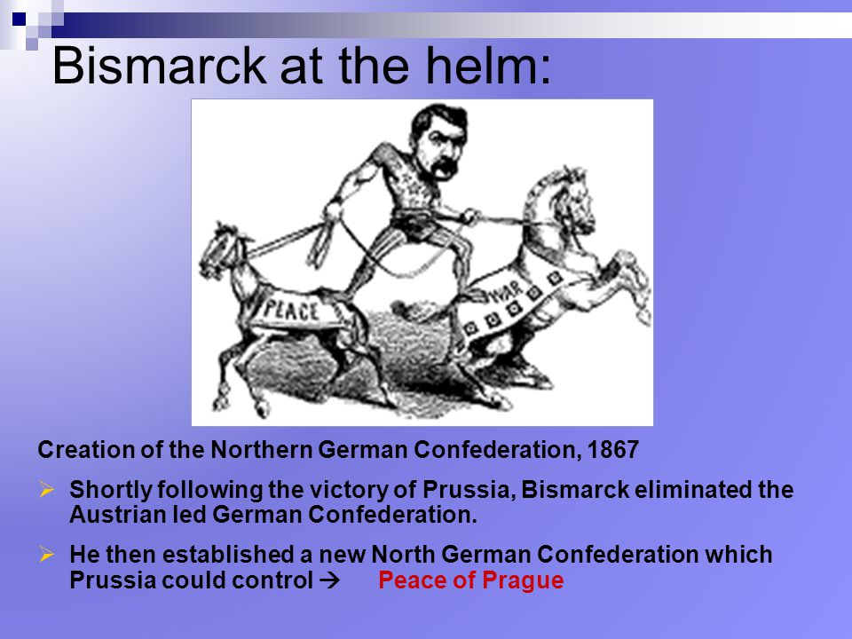 Bismarck at the helm: Creation of the Northern German Confederation, 1867.